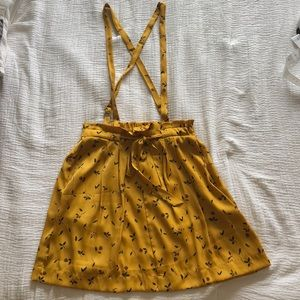 Silk yellow floral overall skirt